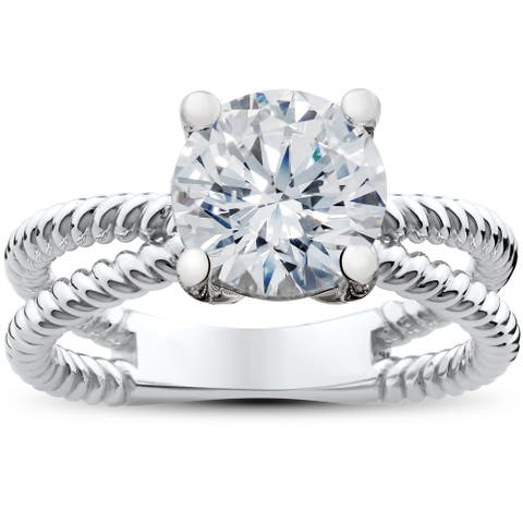 14k White, Yellow or Rose Gold 2 ct Solitaire Lab Grown Eco Friendly Diamond Braided Split Engagement Ring (F-G, SI1-SI2)