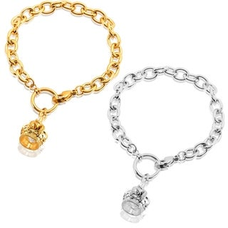 ELYA High Polish Crown Charm Stainless Steel Cable Chain Bracelet