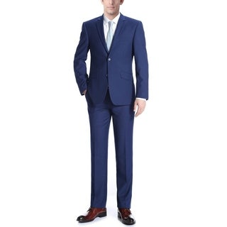 Verno Men's Royal Blue Notched Lapel Slim Fit Suit
