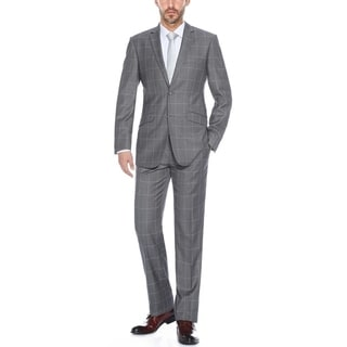 Verno Men's Grey Polyester and Viscose Windowpane Plaid Notched Lapel Slim Fit Suit