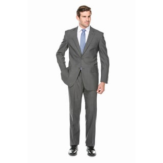 Verno Men's Light Charcoal Grey Micro Plaid 100-percent Wool Classic-fit Suit