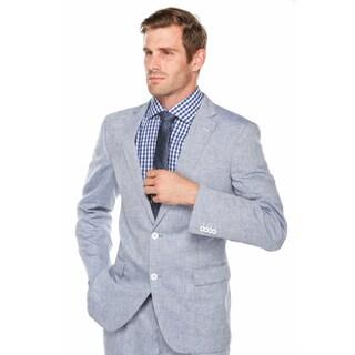 Verno Men's Light Blue 100-percent Linen Classic-fit Suit