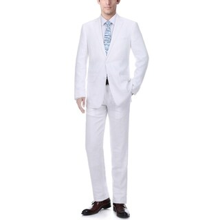 Verno Men's White 100-percent Linen Classic Fit Suit
