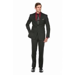 Verno Men's Black 100-percent Wool Classic Fit Suit