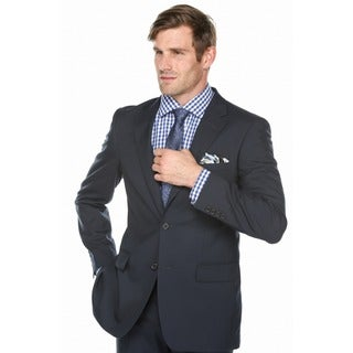 Verno Men's Dark Navy 100-percent Wool Classic-fit Suit
