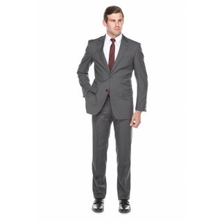 Verno Men's Charcoal Grey 100-percent Wool Classic Fit Suit