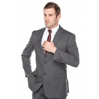 Verno Men's Charcoal Grey 100-percent Wool Slim-fit Suit