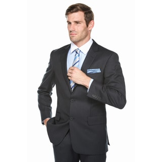 Verno Men's Black Pinstriped Notch Lapel Classic Fit Suit