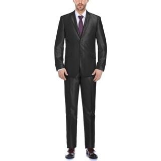 Verno Men's Black Shark-skin Classic Fit Italian 2-piece Suit