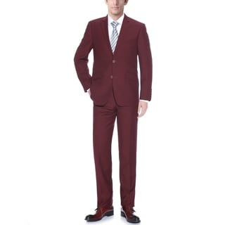 Verno Men's Burgundy 2-piece Slim-fit Suit