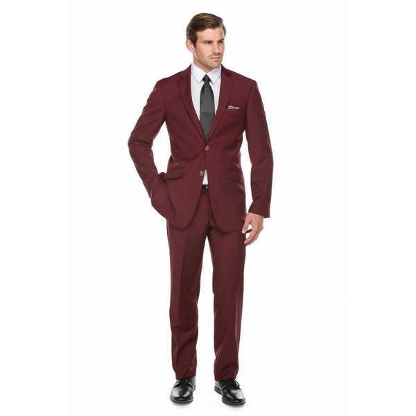 Verno Men's Burgundy 2-piece Slim-fit Suit - Free Shipping Today ...