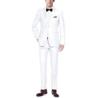 Verno 2-Piece Slim Fit Men's White Tuxedo with Two Button Notch Collar and Ribbon Finish