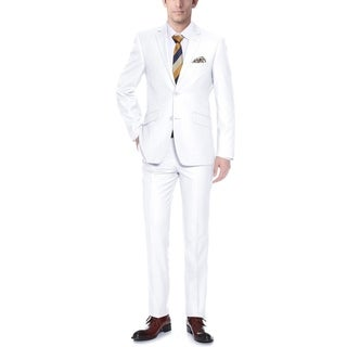 Verno Men's White Slim Fit Two-piece Suit
