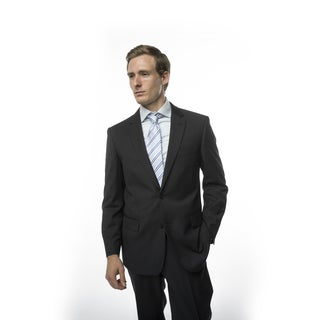Verno Men's Black Pinstripe Classic-fit Two-piece Suit