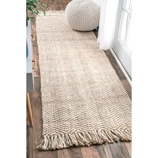 nuLOOM Handmade Texture Jute Runner Rug (2'6 x 8')