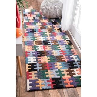 """nuLOOM Handmade Wool Puzzle Kids Multi Runner Rug (2'6 x 8') - 2'6"""" x 8' runner"""
