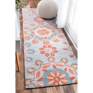 nuLOOM Handmade Suzanni Light Blue Runner Rug (2'6 x 8')