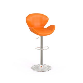 Contemporary Adjustable Height Barstool with Chrome Base