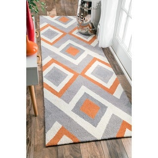 nuLOOM Handmade Geometric Triangle Orange Runner Rug (2'6 x 8')
