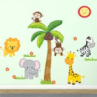 Jungle Friends Fabric Wall Decal, 100% Woven Fabric Adhesive Decal