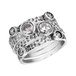 Handmade Stackable Set of Four Textured Cubic Zirconia .925 Silver Ring (Thailand)