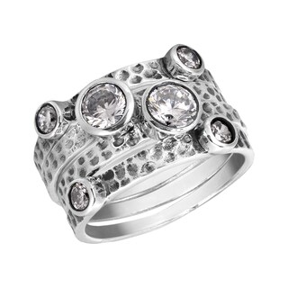 Handmade Stackable Set of Four Textured Cubic Zirconia .925 Sterling Silver Ring (Thailand)