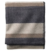 Pendleton Eco-wise Midnight Navy Stripe Washable Wool Blanket
