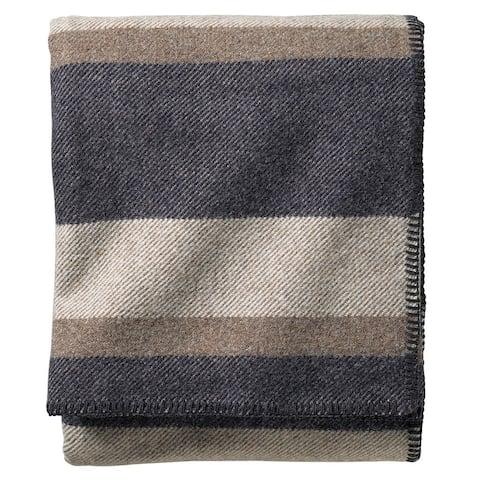 Pendleton Eco-wise Midnight Navy Stripe Washable Wool Blanket
