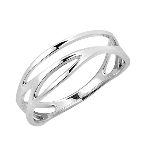 Handmade Modern Open Lines Wave Band Sterling Silver Ring (Thailand)