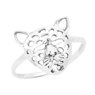Chic Safari Leopard Head .925 Sterling Silver Ring (Thailand)