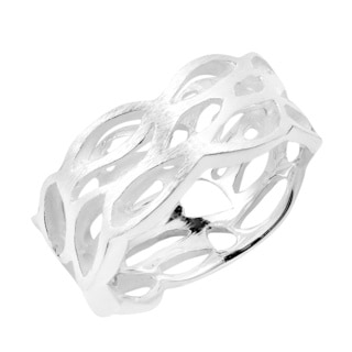 Trendy Cut Out Satin Brush Waves Sterling Silver Ring (Thailand)