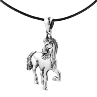 Wild Equine Horse Sterling Silver Black Rubber Necklace (Thailand)