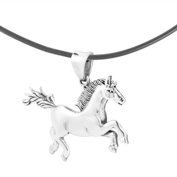 Handmade Running Noble Horse Sterling Silver Black Rubber Necklace (Thailand)