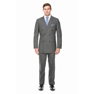 Verno Men's Light Charcoal Grey 100-percent Wool Micro Plaid Double-breasted Peak Lapel Classic Fit Suit