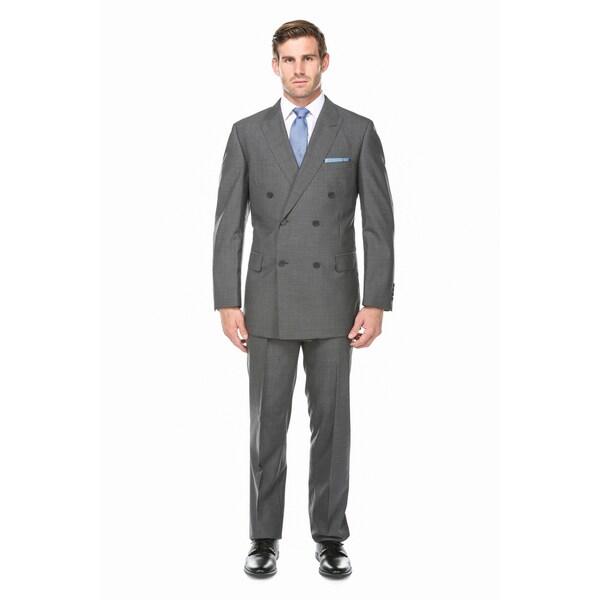 Verno Men's Light Charcoal Grey 100-percent Wool Micro Plaid ...