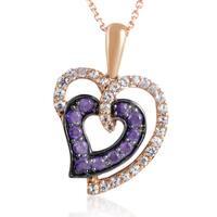 LeVian Women's 14K Rose Gold White Sapphire & Amethyst Heart Pendant Necklace