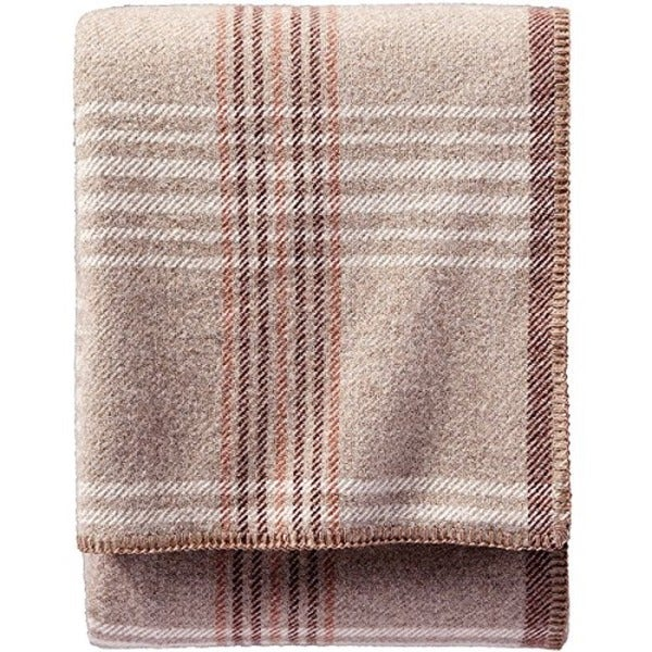 Pendleton Eco-wise Taupe Plaid Wool Blanket