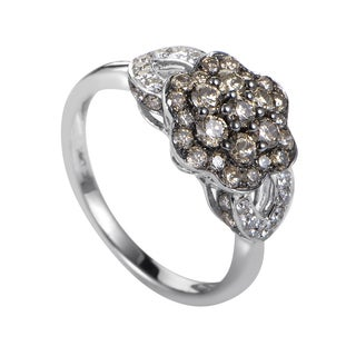 LeVian Women's 14K White Gold Brown & White Diamond Flower Ring