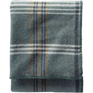 Pendleton Eco-wise Shale Blue Plaid Wool Blanket