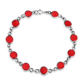Handmade Natural Stone Double Sided Round Link .925 Sterling Silver Bracelet (Thailand) (4 options available)