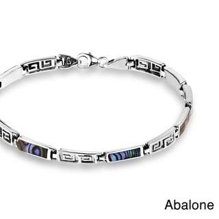 Greek Key Labyrinth Natural Stone Inlay.925 Silver Bracelet (Thailand)