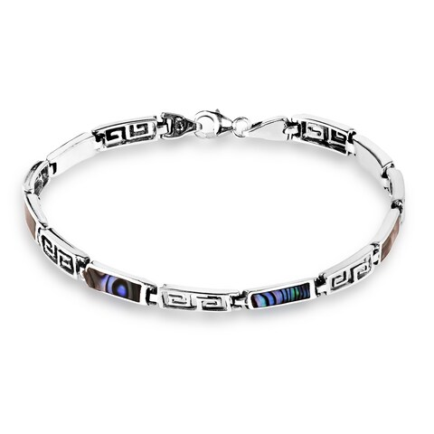 Handmade Greek Key Natural Stone Inlay.925 Sterling Silver Bracelet (Thailand)