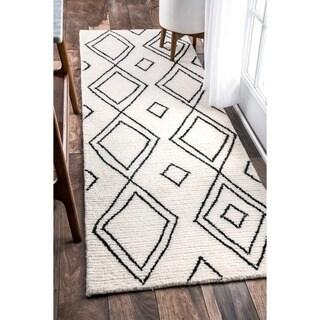 nuloom handmade moroccan diamond trellis wool natural runner rug 2u00276 x