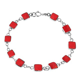 Handmade Square Link Natural Stone Double Sided .925 Sterling Silver Bracelet (Thailand) (4 options available)