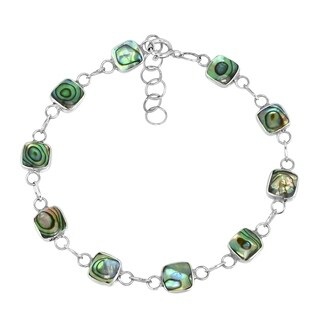 Handmade Square Link Natural Stone Double Sided .925 Sterling Silver Bracelet (Thailand)