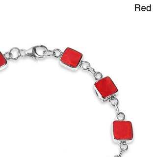 Handmade Square Link Natural Stone Double Sided .925 Silver Bracelet (Thailand)