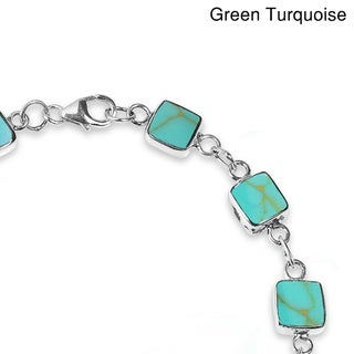 Square Link Natural Stone Double Sided .925 Silver Bracelet (Thailand)
