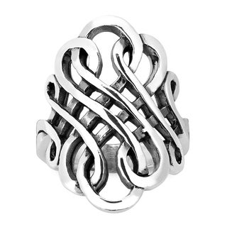 Handmade Forever Interconnected Infinity Knot Sterling Silver Ring (Thailand) (4 options available)