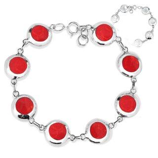 Handmade Field of Circle Stone .925 Sterling Silver Reversible Bracelet (Thailand) (Option: Red - White - Fashion)