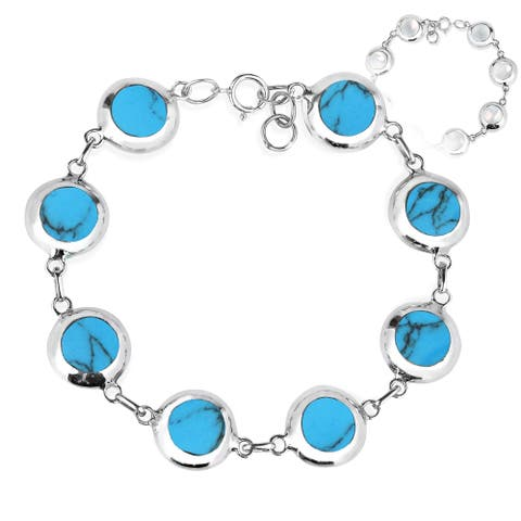 Handmade Field of Circle Stone .925 Sterling Silver Reversible Bracelet (Thailand)